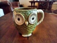 G Gibson Home Glazed Ceramic Large Green Owl Coffee Cup Mug Pottery Rare Vintage