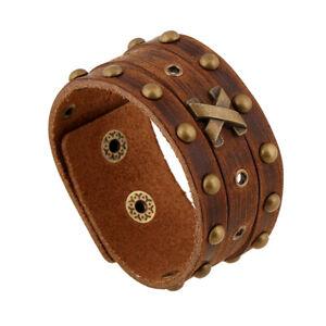 Punk Retro Men Wide Brown Leather Bangle Bracelet Wristband Adjustable Cuff Wrap