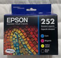 Genuine OEM Epson 252 Black & Color Ink T252120-BCS 4-Pack Sealed Box Exp 2023+