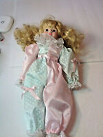 """LIMITED EDITION 16"""" PORCELAIN DOLL IN BEAUTIFUL Satin Clown Pajamas Vintage DT8"""