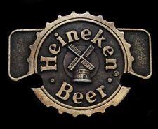 VINTAGE 1970's  *HEINEKEN BEER* BOOZE CAN OPENER BRASS TONE BELT BUCKLE HIPSTER