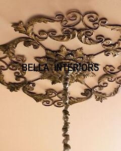 New NeimanMarcus Victorian Scroll Acanthus Iron Gold Ceiling Medallion SCLUPTURE