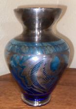 Antique Thomas Webb Blue Glass Vase Silver Decorated