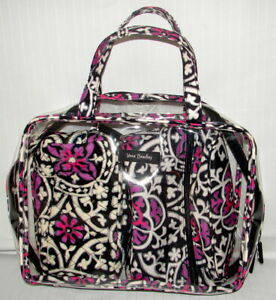 VERA BRADLEY 3 PIECE CLEAR TRAVEL BAG WITH JEWLERY AND COSMETIC BAG