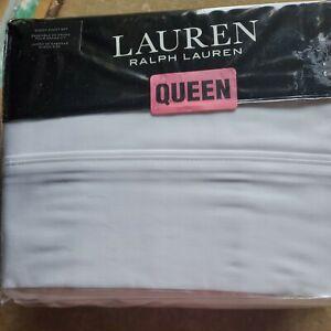 New Ralph Lauren QUEEN Cotton Dunham Sateen 4 pc Sheet Set WHITE 300 TC Deep Fit