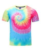 Tie Dye Hippy T-Shirt (acid wash all over print festival colourful t shirt)