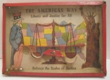 Old Dexterity Puzzle - The Scales of Justice w/ Uncle Sam & Statue of Liberty