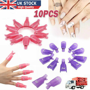 10 X Plastic Nail Soak Off UV Gel Art Polish Remover Wrap Gelish Clip Cap UK