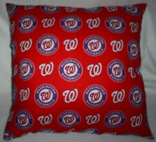 "16""x16"" Handmade Toss Pillow of Washington Nationals Cotton Print,  Navy Back"