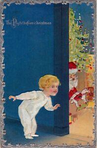 "Christmas Postcard ""The Night before Christmas"" Embossed Postmarked 1910       U"
