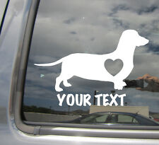 Dachshund Hot Dog Heart Love - Custom Text Puppy Car Vinyl Decal Sticker 01105