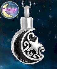 New Moon Crescent Star Cremation Urn Keepsake Ash Silver Memorial Necklace