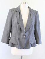 White House Black Market Gray Static 3/4 Sleeve Bow Peplum Blazer Jacket Size 14
