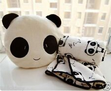 Lovely Cute Plush Panda Pillow Cushion Nap Car Sofa Bolster w/ Blanket 2 in1