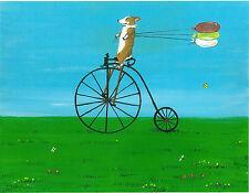 8X10 Print Of Painting Pembroke Welsh Corgi Antique Bicycle Ryta Summer Day Folk