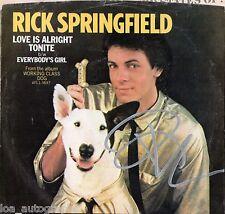 "Rick Springfield hand SIGNED Love is Alright Tonight 7"" vinyl record JSA COA"