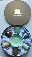 Classic Coffee & Tea ~ Cups and Saucers ~ Set of 6 ~ Multi-Color ~ New Open Box