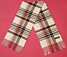 ITALY VINTAGE AUTHENTIC PLAIDS & CHECKS LAMBSWOOL LONG MEN'S FRINGE SCARF