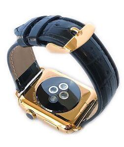 24K Gold Apple WATCH 42mm Stainless Steel Case Black Alligator Band
