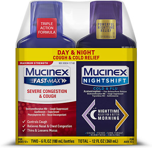 Mucinex Maximum Strength Severe Congestion & Cough & Nightshift Cold & Flu for 6