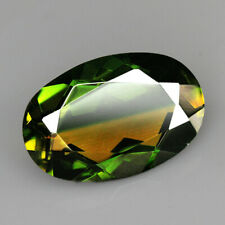 9.1Ct Man Made Bi Color Glass Yellow Green Oval Cut MQYG8