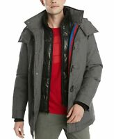 Tommy Hilfiger Mens Glide Ski Jacket Gray Size 2XL Stripe Zip-Up Hooded $349 mcd