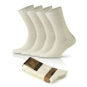 GoWith Women's Natural Organic Linen Cotton Crew Socks | 4 Pairs | Model: 2024