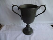 More details for antique georgian pewter two handled goblet / loving cup / trophy height 22 cm