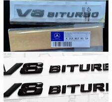 MERCEDES BENZ GLOSS BLACK V8 BITURBO BADGES FOR AMG C63 E63 S63 ML63 CLK x 2 UK