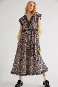 Free People Fp Beach Milania Midi Dress Flowy Floral Printed Ruffle XL NW 215042