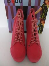 BEBO RJ101 LADIES CORAL FAUX SUEDE LACE UP SHOE/ANKLE BOOT BLOCK HEEL SIZE 7 NEW