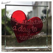 Spaceform Vidrio En Miniatura Token Rojo Corazón felicitaciones Boda Recuerdo Regalo