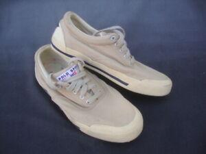 Vintage Polo Sport Ralph Lauren 11 D Mens Canvas Sneakers Shoes Cream Tan