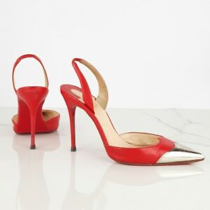 CHRISTIAN LOUBOUTIN size 37 Slingbacks 100 Red Leather Pointed Metal Toe Heels