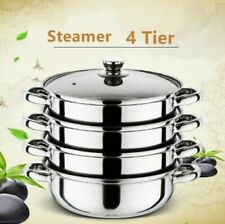 4 Tier Stainless Steel Food Steamer Set Induction Hob Cookware Steam Pot Pan Set