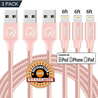 3 Pack 6Ft Pink USB Cable Heavy Duty iPhone 6S 7 8 plus iPhone X Charging Cord