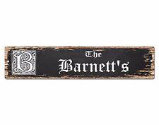 SPFN0300 The BARNETT'S Family Name Street Chic Sign Home Decor Gift Ideas