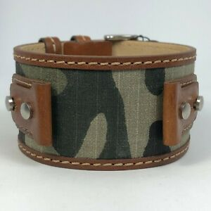 New Fossil Brown Camo Military Cuff Men's Watch Wide Band Lug Size 20mm JR9925