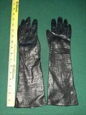 Leather Vintage Black ladies Gloves long