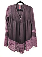 Johnny Was Size XS  Blouse Tunic Button Down Long Sleeve Purple Lace