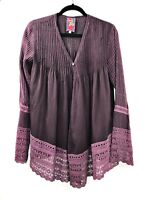 Johnny Was Womens Blouse Tunic Button Down Long Sleeve Size XS Purple Plum