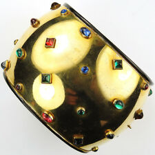 Deco (after Jean Fouquet) Gold Black Enamel & Studded Gems Bangle Cuff Bracelet