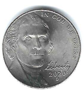 2020-D Denver Uncirculated Jefferson Nickel Five Cent Coin!