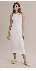 Country Road Fitted Cotton White Jersey Dress Midi Racerback Size S