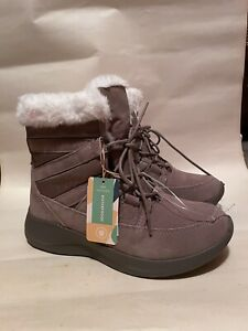 Earth New Women Ankle Boots Lace Up Low Wedge Tan Suede/Fabric size 9 Fur trim