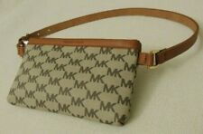 Michael Kors Brown/Tan Signature Leather Fanny Pack Belt Bag Size SMALL NWT