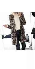 Zara Leopard Animal Print Double Breasted Jacquard Coat Size S