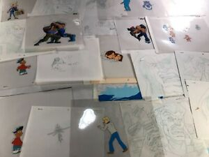 Animation Production Cels and DrawIngs Assorted Lot 17Cels and 26 Drawings