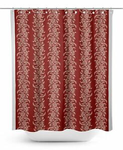 S4Sassy Red Paisley & Floral Decorative Waterproof Printed Shower-T8n