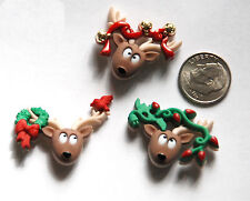 Oh Deer Buttons / Holiday Christmas Buttons Jesse James Co / 3 Comical Deer